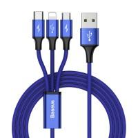 Cablu incarcare Baseus Rapid 3 in 1 (mufe Micro-USB, USB-C, Lightning), 3A, 1,2M, Albastru