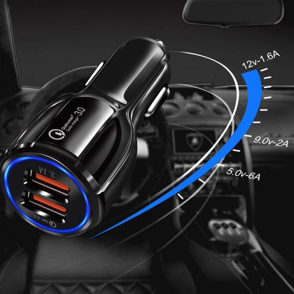 Incarcator auto Nytro C2, 2x USB, Qualcomm Charge 3.0, 12/24V, 6A