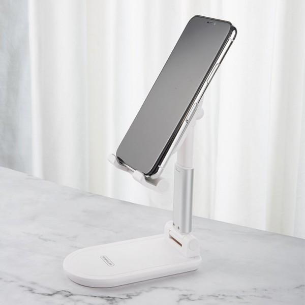 Suport telefon si tableta Stand Pro, Telescopic, Ajustabil Si Pliabil, Alb