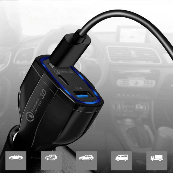 Incarcator auto WCC-01, 2xUSB + Type-C, Fast Quick Charge 3.0, 35W, 3.5A