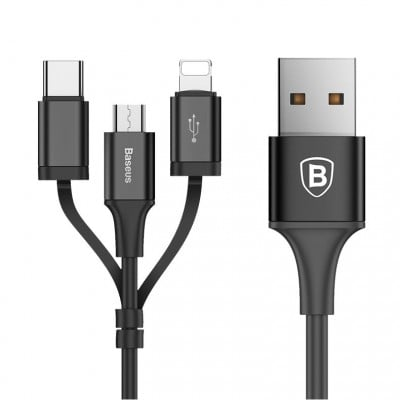 Cablu incarcare si transfer date Baseus Excelent, 2A, 3 Mufe, 1.2M