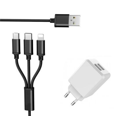 Cablu incarcare Fast USB 3in1, 2.8A, 115cm + Incarcator priza 2USB