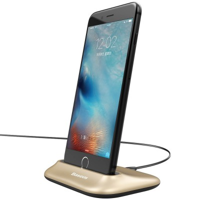 Suport birou pentru iPhone cu port Lightning - Baseus Little Volcano Gold