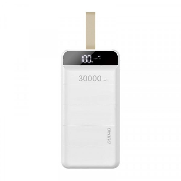 Baterie externa PowerBank 30000mAh, 3x USB, Afisaj, Lanterna LED, 2.1A, White