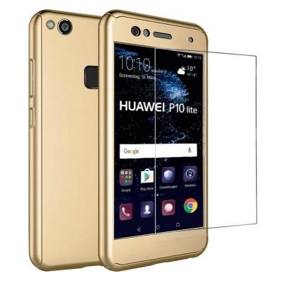 Husa 360 gold cu folie sticla Huawei P10 Lite