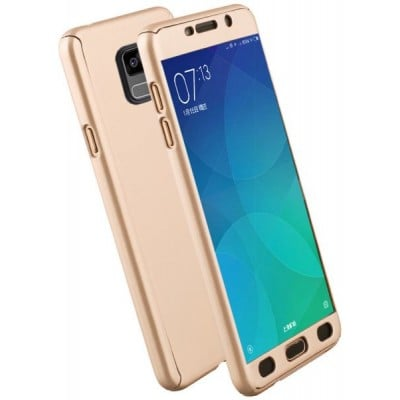 Husa gold 360 cu folie sticla Samsung Galaxy A6 2018