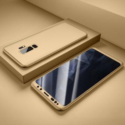 Husa 360 gold cu folie sticla Samsung Galaxy A8 2018