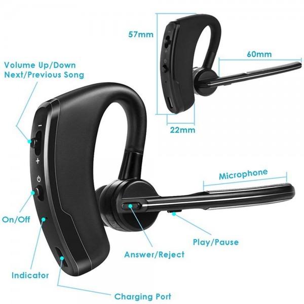 Casca Bluetooth V8 Pro, Autonomie Mare, Microfon, Utilizare partea stanga/dreapta, Negru