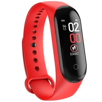 Bratara Fitness M4 Band Red, Ritm Cardiac, Puls, Monitorizare Activitati, Notificari Apeluri SMS Aplicatii