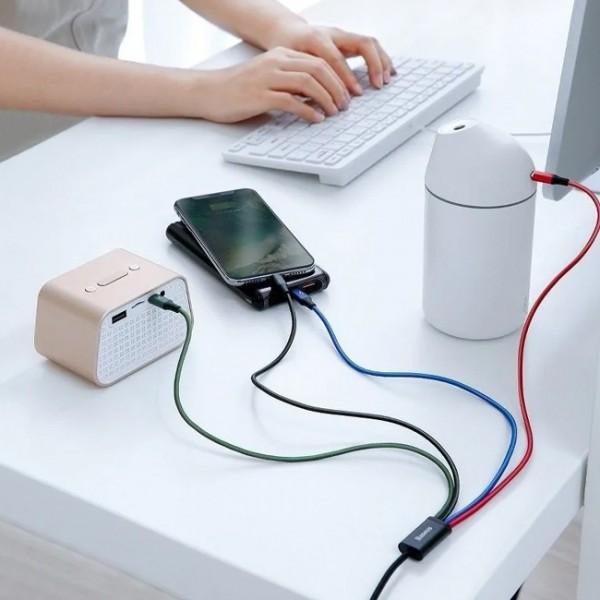Cablu incarcare Baseus Fast 4in1, 3.5A, Invelis rezistent Nylon, 1.2M