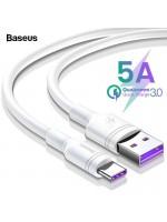 Cablu USB Type-C Baseus, 5A, 100cm, Turbo Charge Qualcomm, Alb