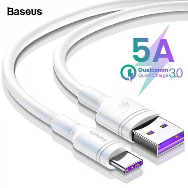 Cablu USB Type-C Baseus, 5A, 100cm, Turbo Charge Qualcomm, Alb
