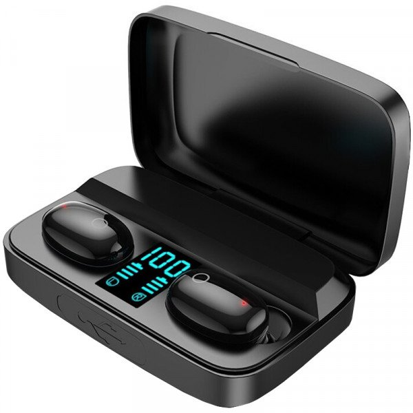 Casti wireless Earbuds A10s, Bluetooth 5.0, X-Bass, Powerbank 1800mAh, Afisaj, Touch, HiFi TWS, Black