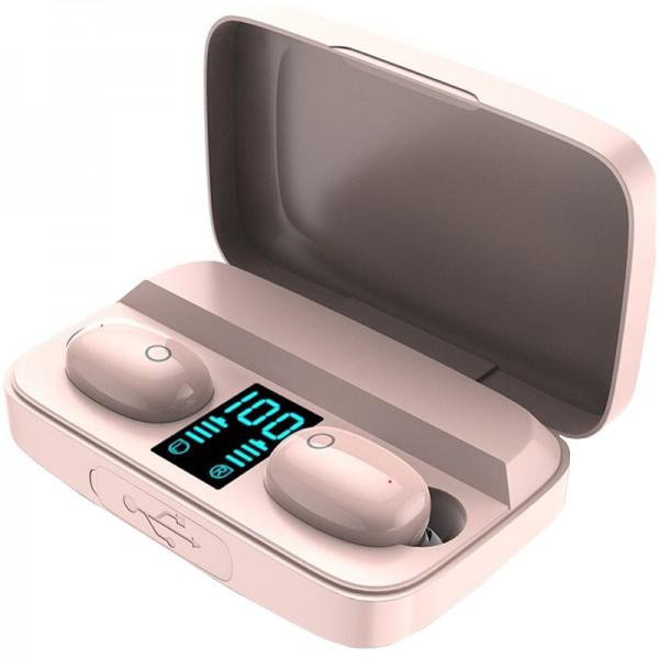 Casti wireless Earbuds A10s Pink, Bluetooth 5.0, X-Bass, Powerbank 1800mAh, Afisaj, Touch, HiFi TWS