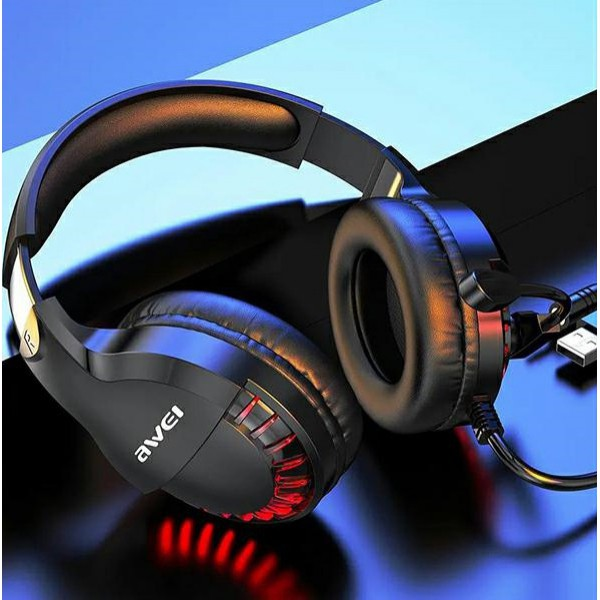 Casti gaming over-ear AWEI 770i, Microfon, 50mm, Iluminare, Black + Casti HD-3 Red