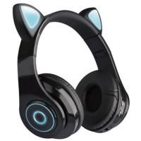 Casti over-ear B39 wireless, Bluetooth, Microfon, Aux IN si microSD, Urechi Pisica cu Lumini, Black