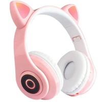 Casti over-ear B39 wireless, Bluetooth, Microfon, Aux IN si microSD, Urechi Pisica cu Lumini, Pink