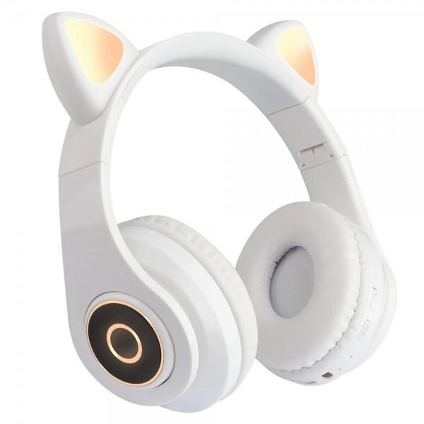 Casti over-ear B39 wireless, Bluetooth, Microfon, Aux IN si microSD, Urechi Pisica cu Lumini, White