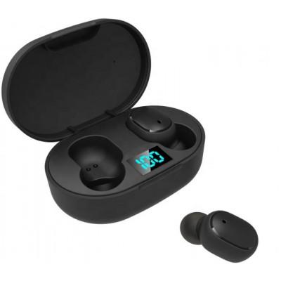 Casti wireless TWS E6s, Bluetooth 5.0, Afisaj LED, Mic, Inteligent Noise Reduction, Black