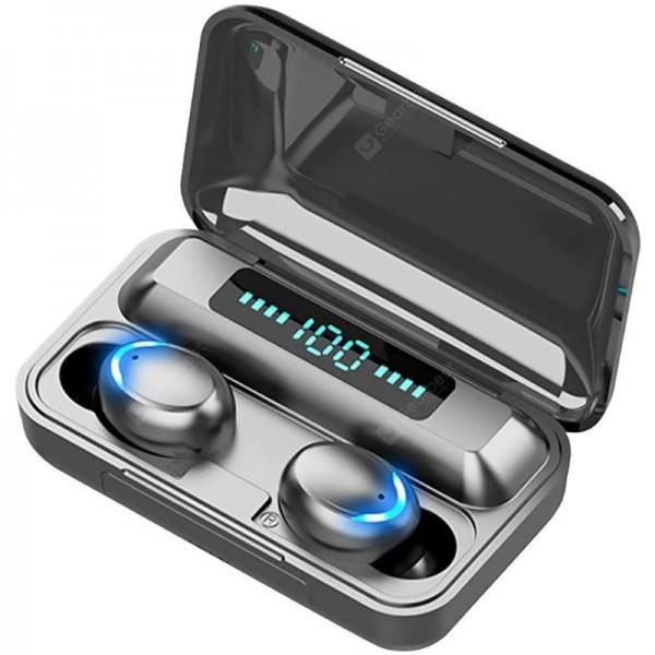 Casti wireless TWS F9 Plus, Bluetooth 5.0, Bass, Powerbank cu Afisaj, Touch Control