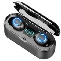 Casti wireless TWS F9-5C, Bluetooth 5.0, Touch Control, Powerbank, Bass, Black