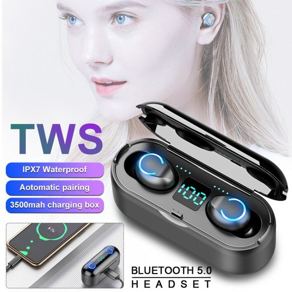 Casti wireless TWS F9, Bluetooth 5.0, New Bass HD, Powerbank cu afisaj, Black