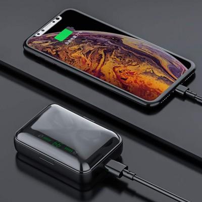 Casti wireless TWS F9, Bluetooth 5.0, New Bass HD, Big Dock, Powerbank afisaj, Black