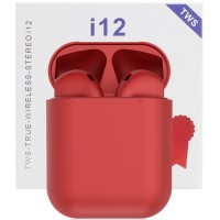 Casti bluetooth wireless TWS i12 Plus Red, High HIFI Sound, Microfon, Bluetooth 5.0