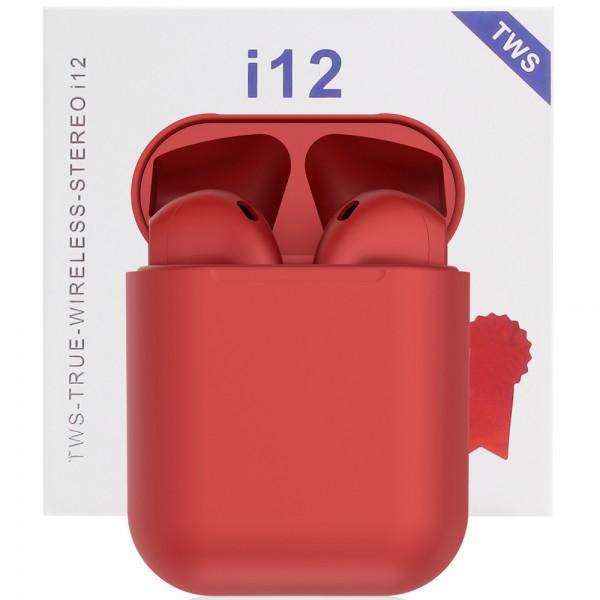 Casti bluetooth wireless TWS i12 Plus Red, High HIFI Sound, Microfon, Bluetooth 5.0