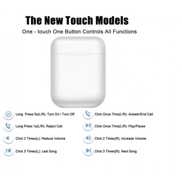 Casti bluetooth wireless TWS i12 Plus White, High HIFI Sound, Microfon, Bluetooth 5.0