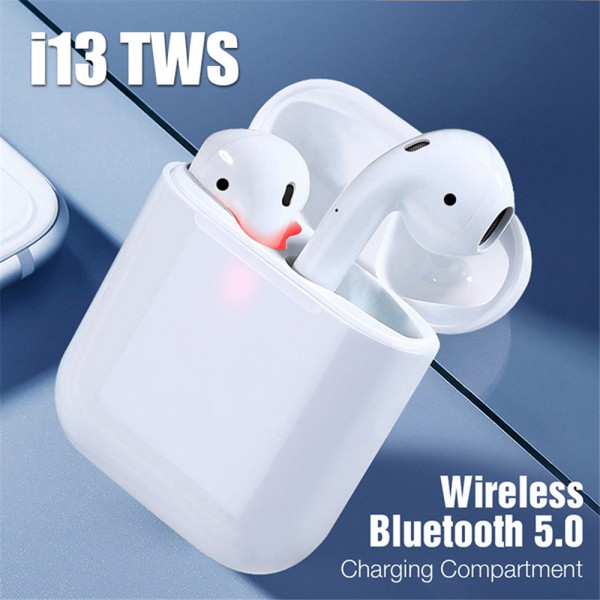 Casti bluetooth wireless TWS i13 Plus, HIFI, Dual Microfon, Incarcare Wireless, White