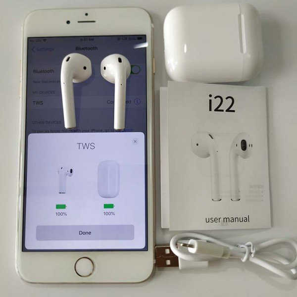 Casti wireless TWS i22, Bluetooth 5.0 EDR, Noise Cancelling, Dual Microfon, Rezistenta Umiditate