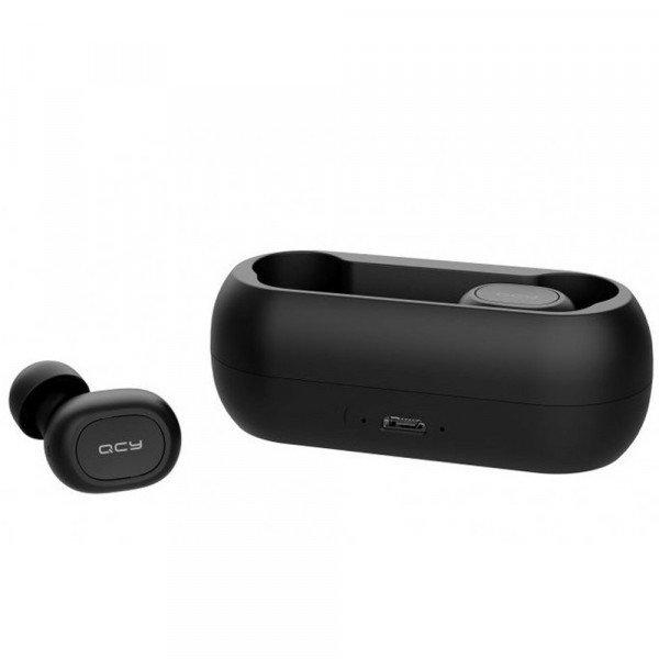 Casti wireless QCY T1C, Bluetooth 5.0, Microfon, Dock incarcare, Black