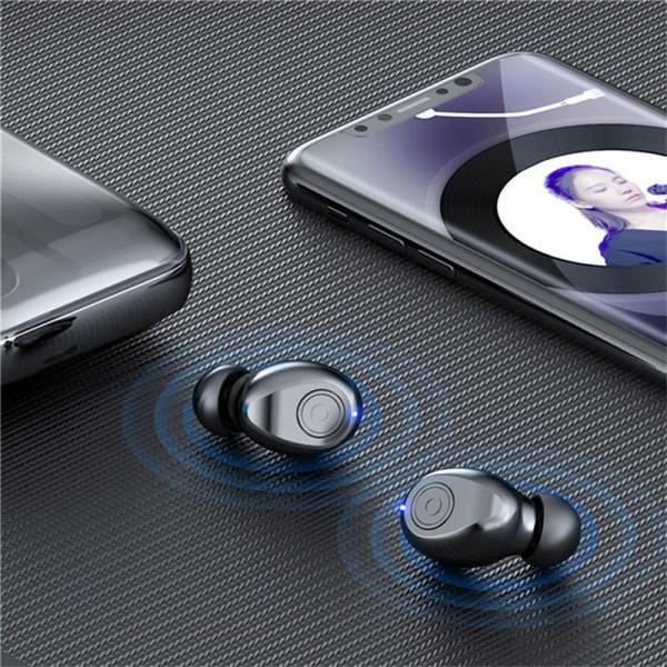 Casti wireless TWS F9 , Bluetooth 5.0, New Bass HD, Powerbank cu afisaj, Black