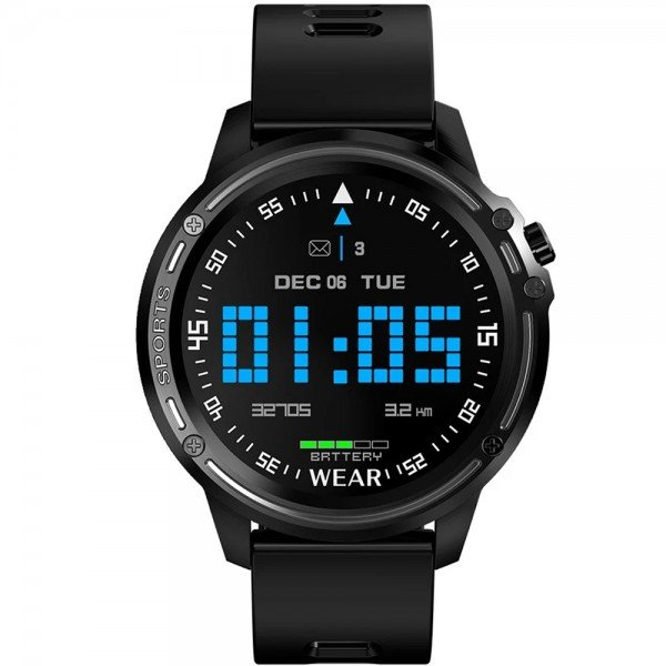 Ceas smartwatch L8, 1.2-inch Full Touchscreen, Bluetooth, ECG+PPG+SPO2, IP68, Black