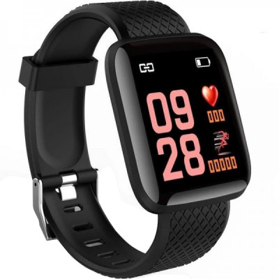 Ceas smartwatch M116,  Monitorizare Fitness Activitati Sanatate Somn Puls, Notificari, Negru