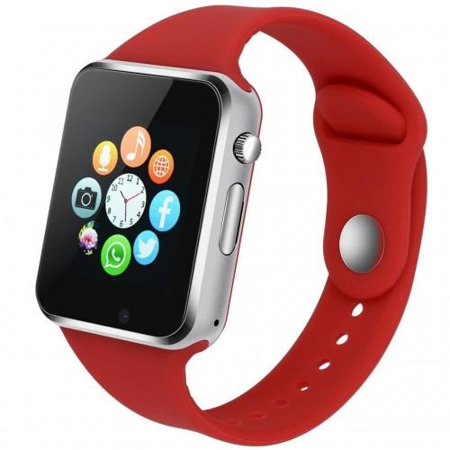 "Ceas smartwatch A1, SIM, 1.54"" Touchscreen, Bluetooth, Aliaj, Rosu"
