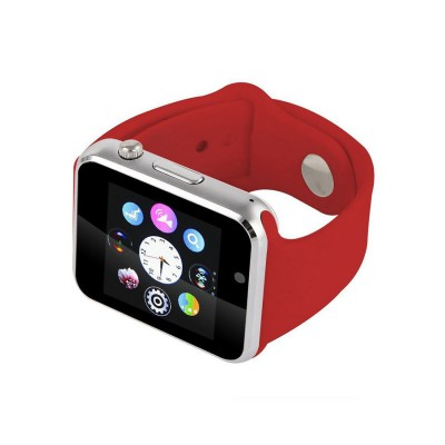 "Ceas smartwatch A1, SIM, 1.54"" Touchscreen, Bluetooth, Aliaj, Rosu"
