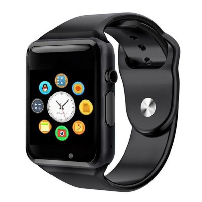 "Ceas smartwatch A1, SIM, 1.54"" Full Touchscreen, Bluetooth, Camera foto, Aplicatii, Aliaj, Negru"