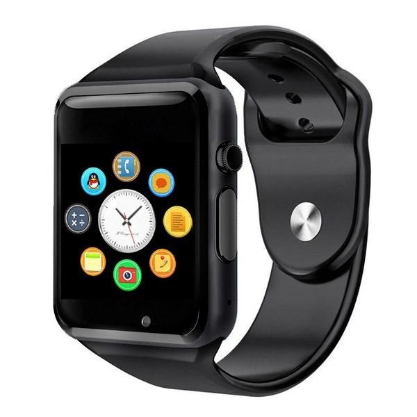"Ceas smartwatch A1, SIM, 1.54"" Touchscreen, Bluetooth, Aliaj, Negru"