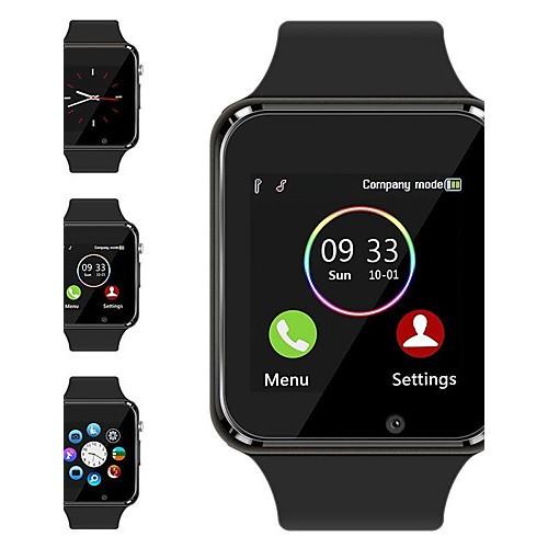 "Ceas smartwatch A1, SIM, 1.54"" Full Touchscreen, Bluetooth, Camera foto, Aplicatii, Aliaj, Negru"