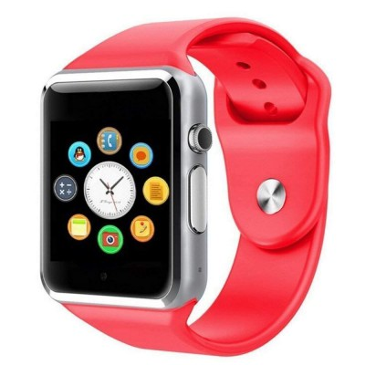 "Ceas smartwatch A1, SIM, 1.54"" Full Touchscreen, Bluetooth, Camera foto, Aplicatii, Aliaj, Rosu"