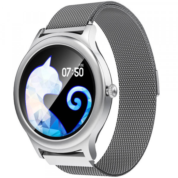 Ceas smartwatch BW-AH1, Bluetooth 5.0, Full Touchscreen, Notificari Monitorizare, Silver