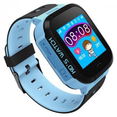 Ceas smartwatch copii C5 Kids Blue, SIM, Full Touchscreen, GPS, SOS, Lanterna
