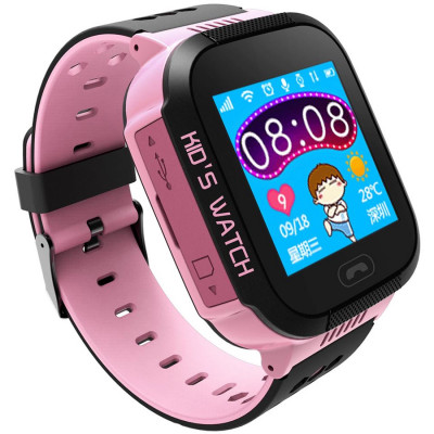 Ceas smartwatch copii C5 Kids Pink, SIM, Full Touchscreen, GPS, SOS, Lanterna