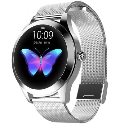 Ceas smartwatch KW10, Bluetooth, Metalic, Pedometru, Notificari, IP68, Silver