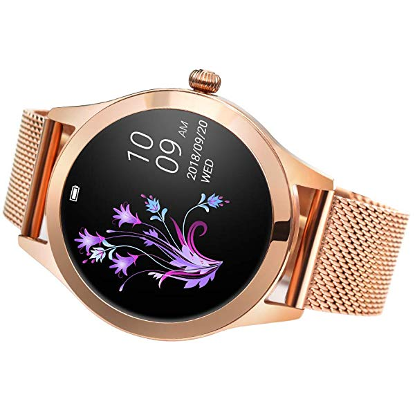Ceas smartwatch KW10 Pro, Bluetooth, Metalic, Pedometru, Notificari, IP68, Gold