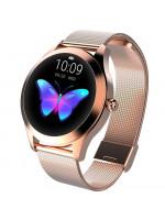 Ceas smartwatch KingWear KW10, TFT 1.04-inch, Bluetooth, Complet metalic, IP68, Gold