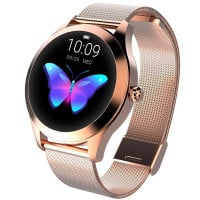 Ceas smartwatch KW10, Bluetooth, Metalic, Pedometru, Notificari, IP68, Gold