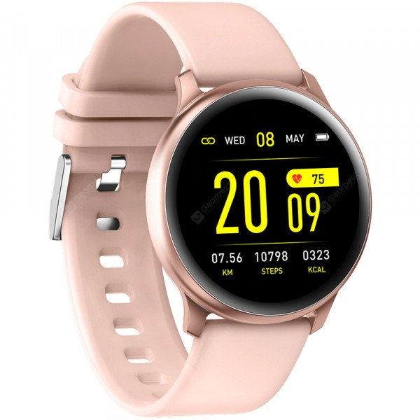 Ceas smartwatch KW19, Bluetooth, Pedometru, Monitorizare Somn Sanatate Puls Oxigen, Pink